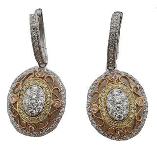 14kt Tri-Toned Diamond Oval Earrings