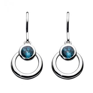 Sterling Silver Simmer Blue Topaz Loop Earrings
