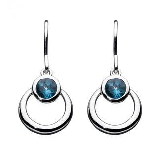 Sterling Silver Simmer Blue Topaz Loop Earrings