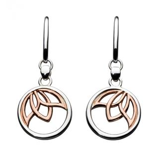 Sterling Silver Lotus Rose Gold Plated Earrings
