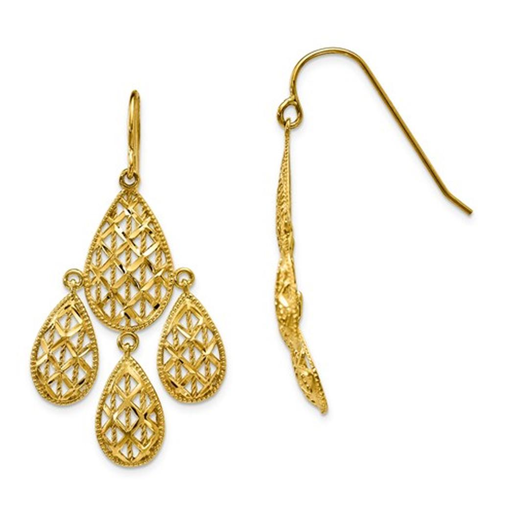 Yellow gold chandelier earrings 10kt yellow gold chandelier earrings arubaitofo Choice Image