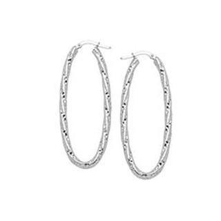 10kt White Gold Diamond Cut Oval Hoop Earrings