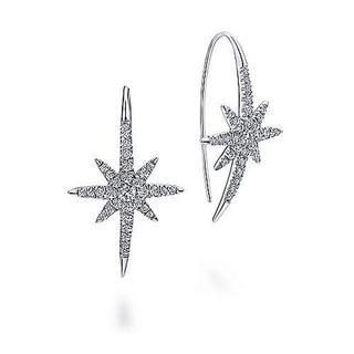 14k White Gold Dazzling Starburst Drop Earrings