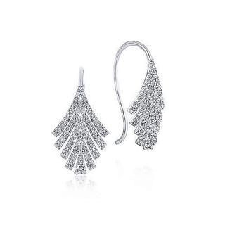 14k White Gold Cascading Fan Drop Earrings